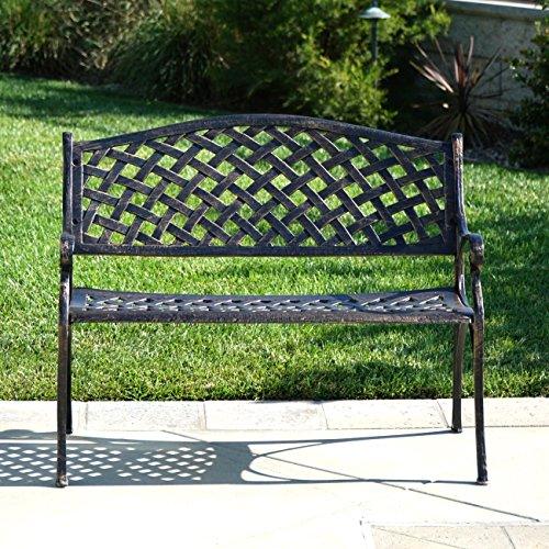 Belleze Outdoor Patio Furniture Garden Bench Cast Aluminum