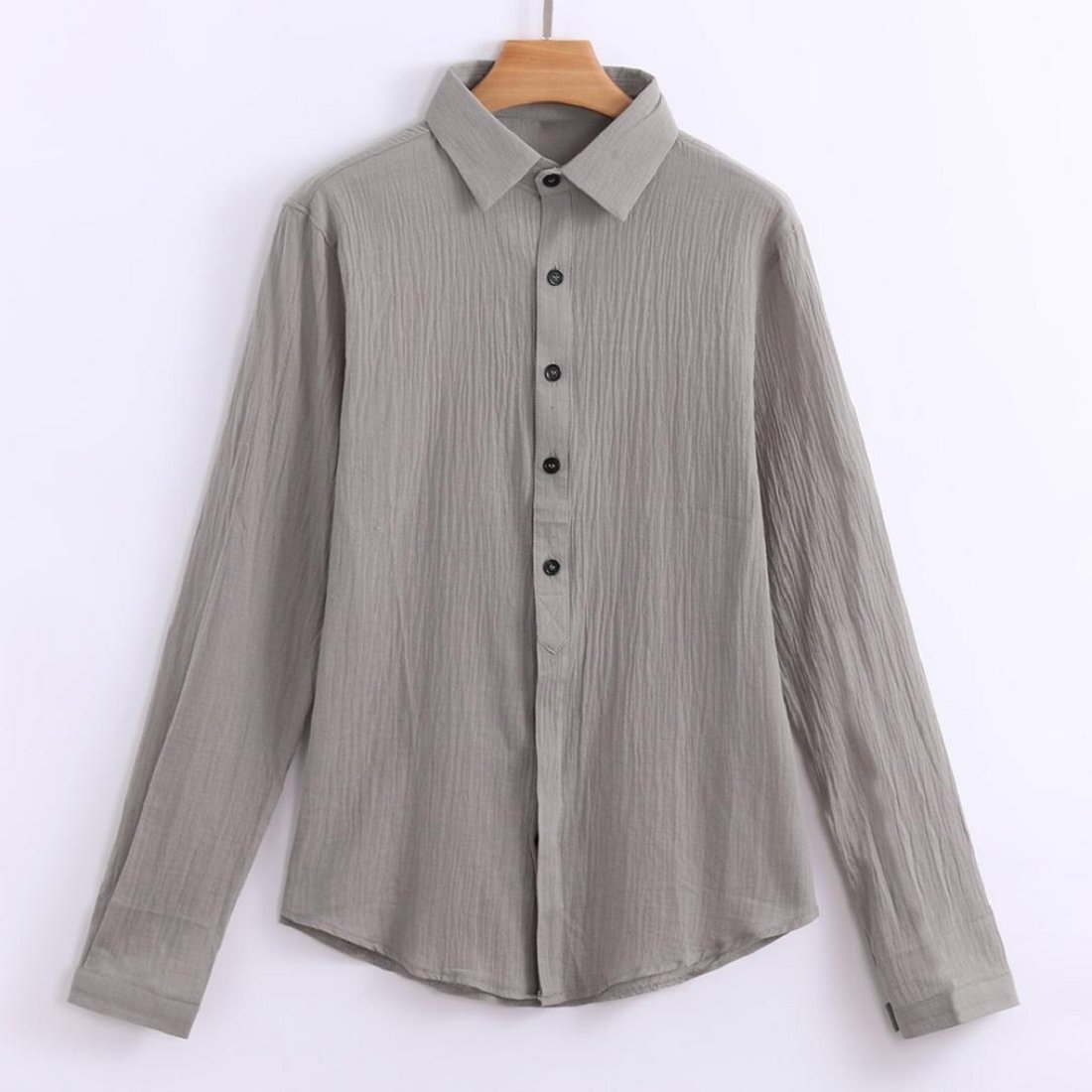 Mens Shirts Long Sleeve Henley Shirt Cotton Solid Casual Loose Fit Tops Blouse