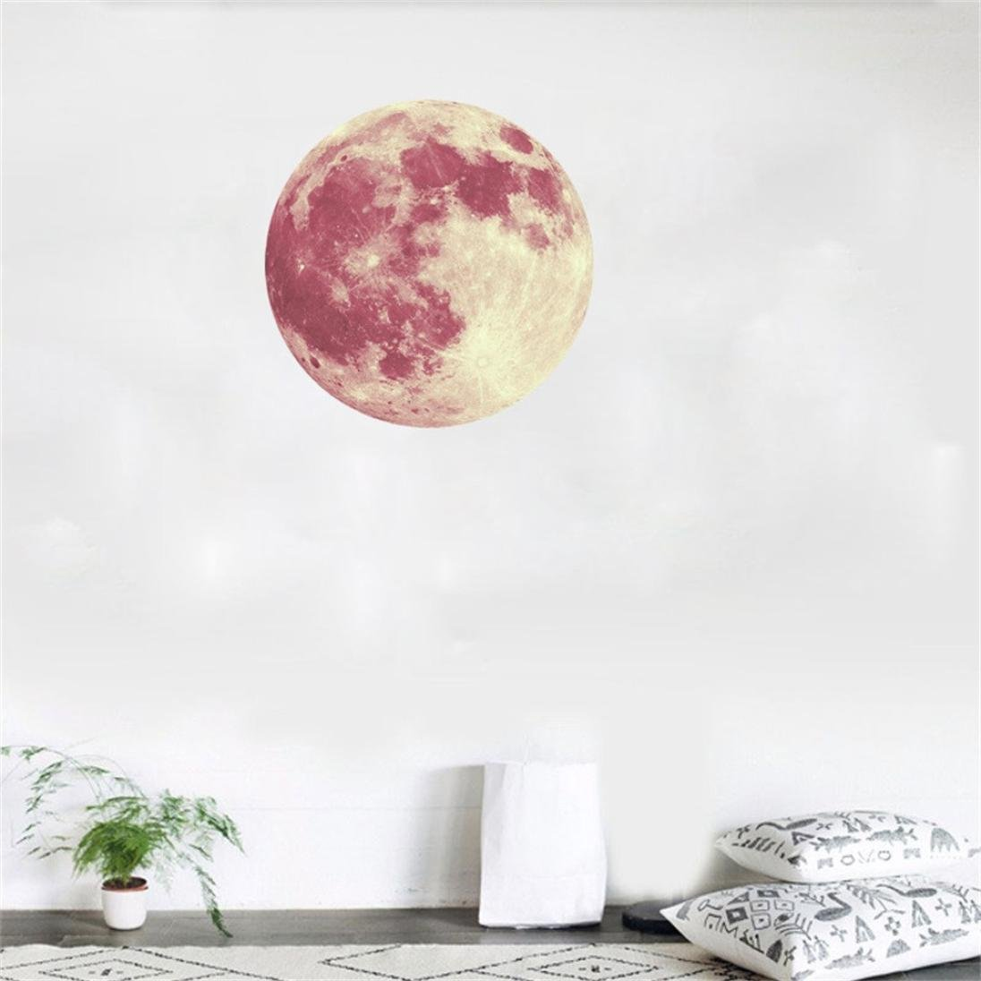 [ 3D ] Large Moon Sticker [ Fluorescent ] Planet Wall Sticker Removable [ Glow in The Dark ] Stickers 40cm (E) by Anshinto (Image #2)