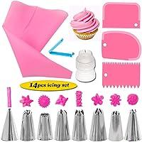 Límite-MX 14 Piezas kits de Boquillas para Manga Pastelera , Decoración de Pasteles Incluyendo 8 Boquillas Reutilizables de Acero Inoxidable, 1 acopladores de plástico reutilizables, Raspadores de Pastel, para Decoración de Pasteles