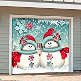 Outdoor Christmas Holiday Garage Door Banner Cover Mural Décoration - Christmas Snowmen and Gifts Holiday Garage Door Banner Décor Sign 7'x8'