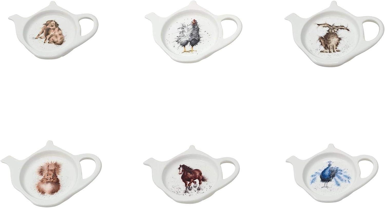 6 X Wrendale Porzellan Teebeutel Ordentlich Ordnung Land Tiere Hase Dose Pfau Pferd Henne Eichh/örnchen Verpackt