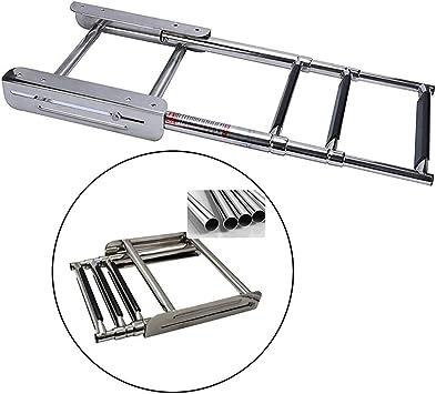 Escalera de Barco de 4 Escalones, Barco de Acero Inoxidable Drop Ladder Escalera Plegable, Escalera Telescópica de Barco Marino de Natación, Peso Máximo 150kg / 330 Lbs: Amazon.es: Bricolaje y herramientas