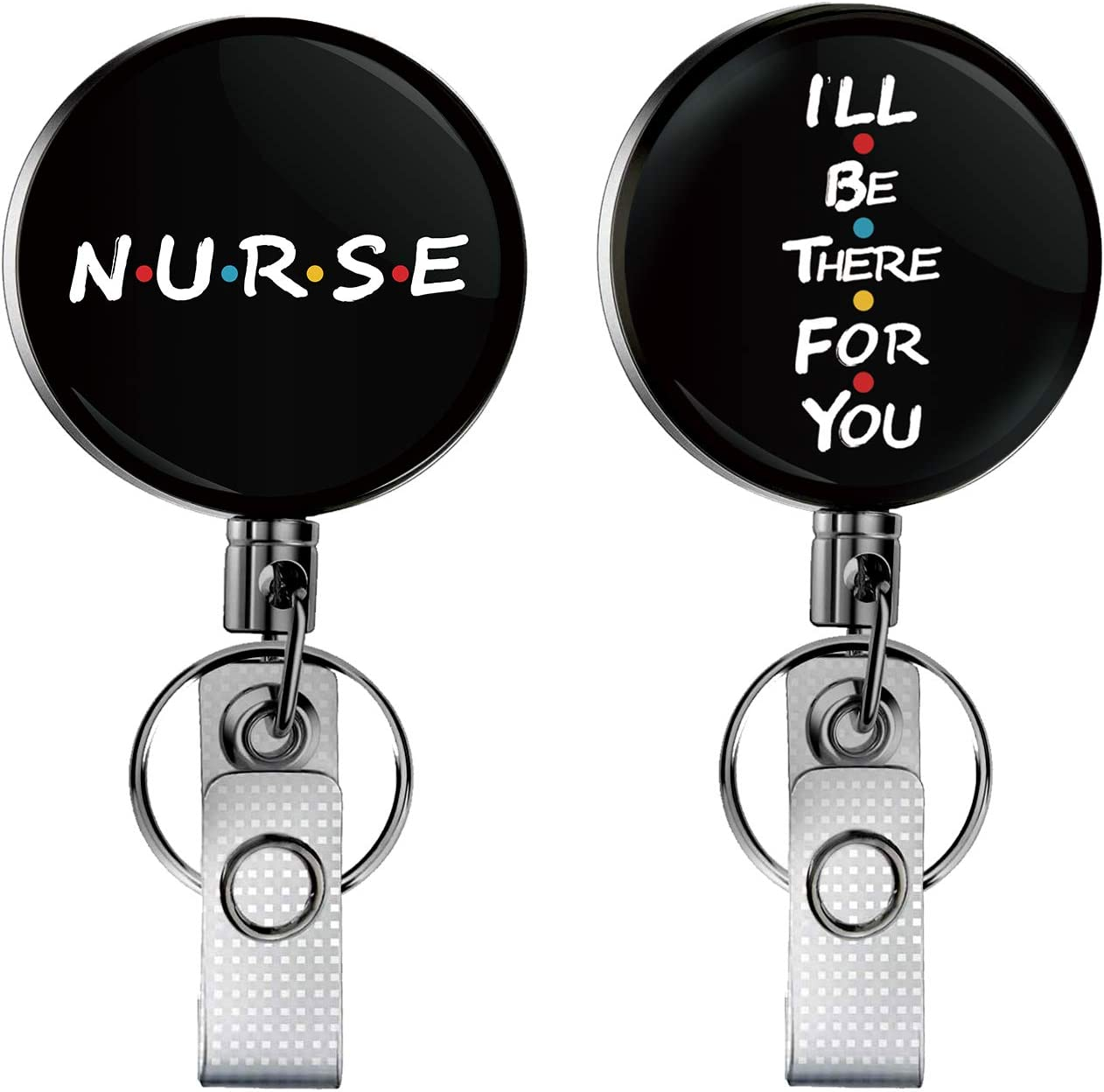 AloParty Nurse and Friends Retractable Badge Reel, Heavy Duty Badge Holder, 1.6inch, I'll be There for You Badge Reel, 2 Pack.
