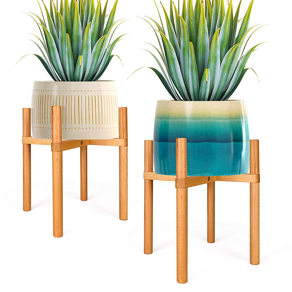 Delxo Plant Stand -2 Pack - Mid Century Wood Flower Pot Holder for Indoor & Outdoor Pots Wooden Potted Plant Holder for House, Garden