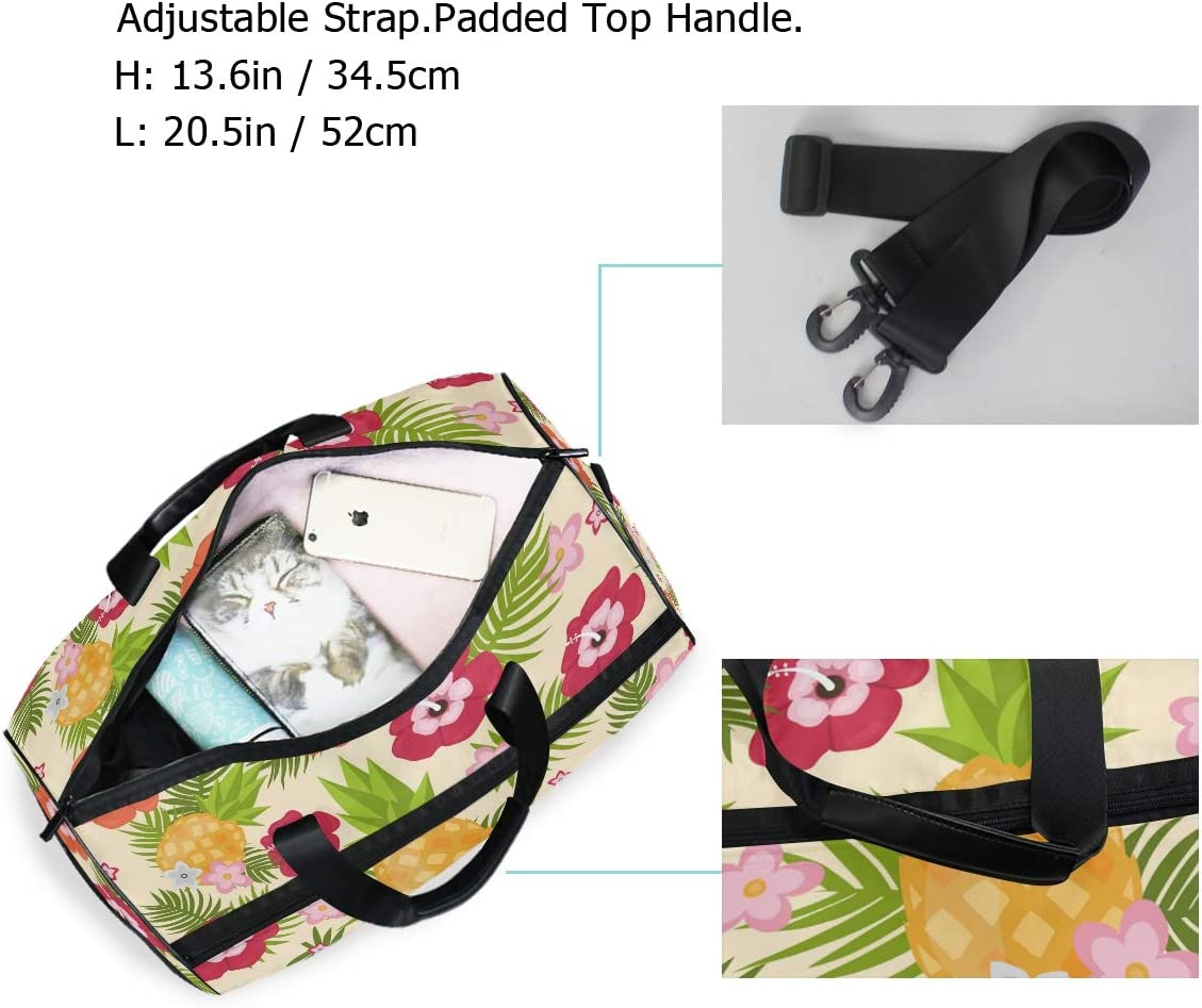 FAJRO Gym Bag Travel Duffel Express Weekender Bag Color Flowers Carry On Luggage with Shoe Pouch