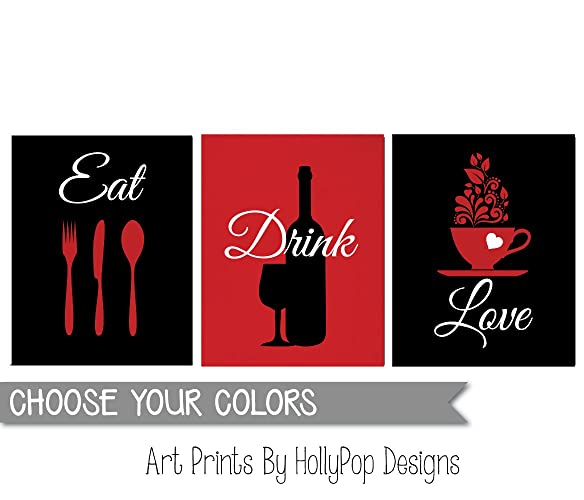 Amazon com: Modern kitchen art, Kitchen wall prints, Red black