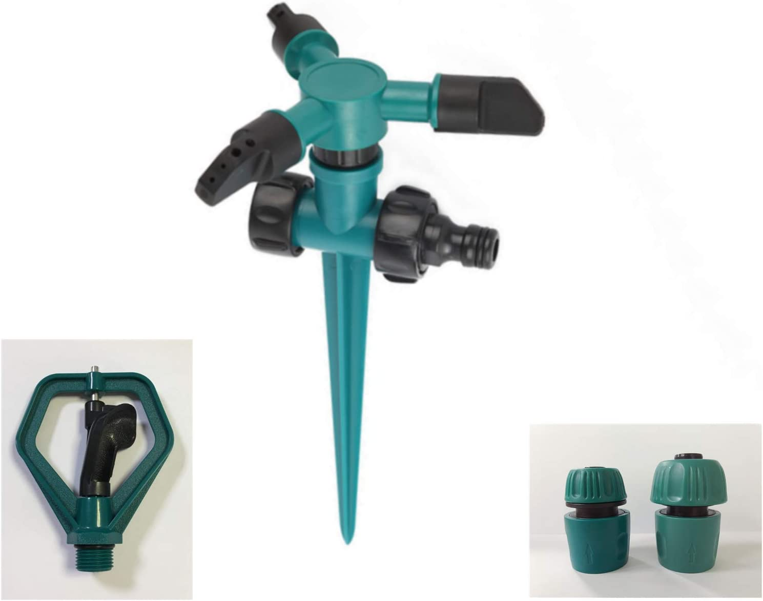 6 PCS Lawn Sprinkler Kit Inground, Adjustable Yard Sprinklers Spike Base Gardening Watering System 360 Degree Rotating Irrigation Machine Green Color (2 Sprinklers Heads+2 Quick Connects)