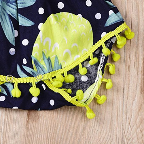 Sannysis Baby Bademode, Neugeborenen Baby Mädchen Floral Tassel Strap Strampler Overall Stirnband Outfit Set Dunkelblau