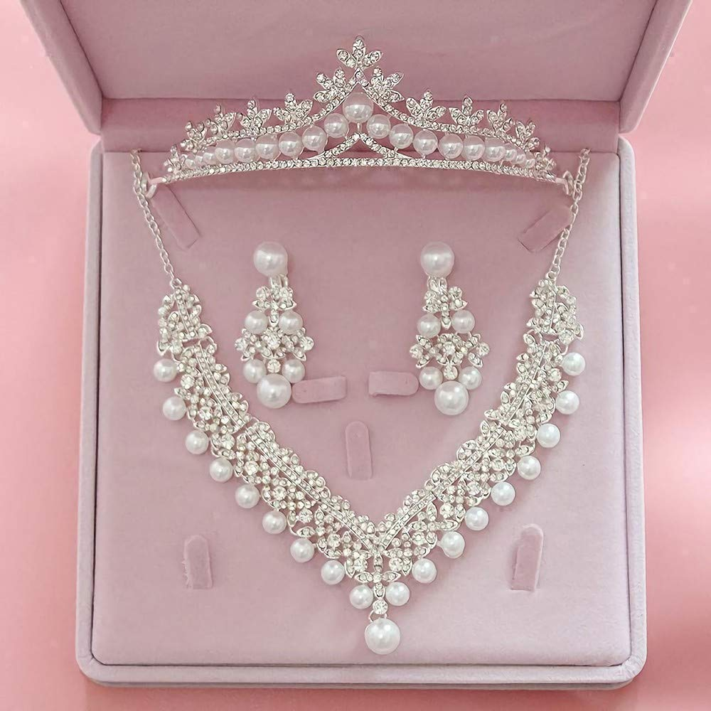 Pearl Twist Silver Wedding Prom Party Costume Jewellery Necklace /& Earring Set