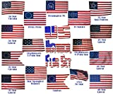 Wholesale Lot USA Historical Flag Set 35 Star, 50 Star, Hopkinson's 5 & 6 pt Stars, 45 Star, Guidon, Star Spangled, 34 Star, 48 Star, 46 Star, Betsy Ross, Ft Sumter, Bennington 76 3'x5′ Poly Flags