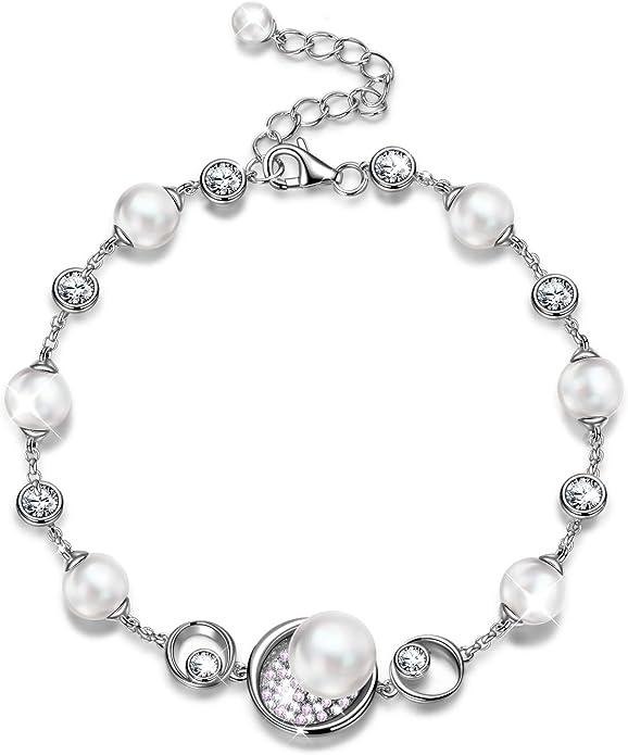 完美节日礼物!施华洛世奇水晶珍珠银手链