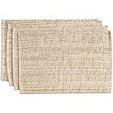 "Sweet Home Collection Trends Two Tone 100% Cotton Woven Placemat (4 Pack), 13"" x 19"", Eggshell"
