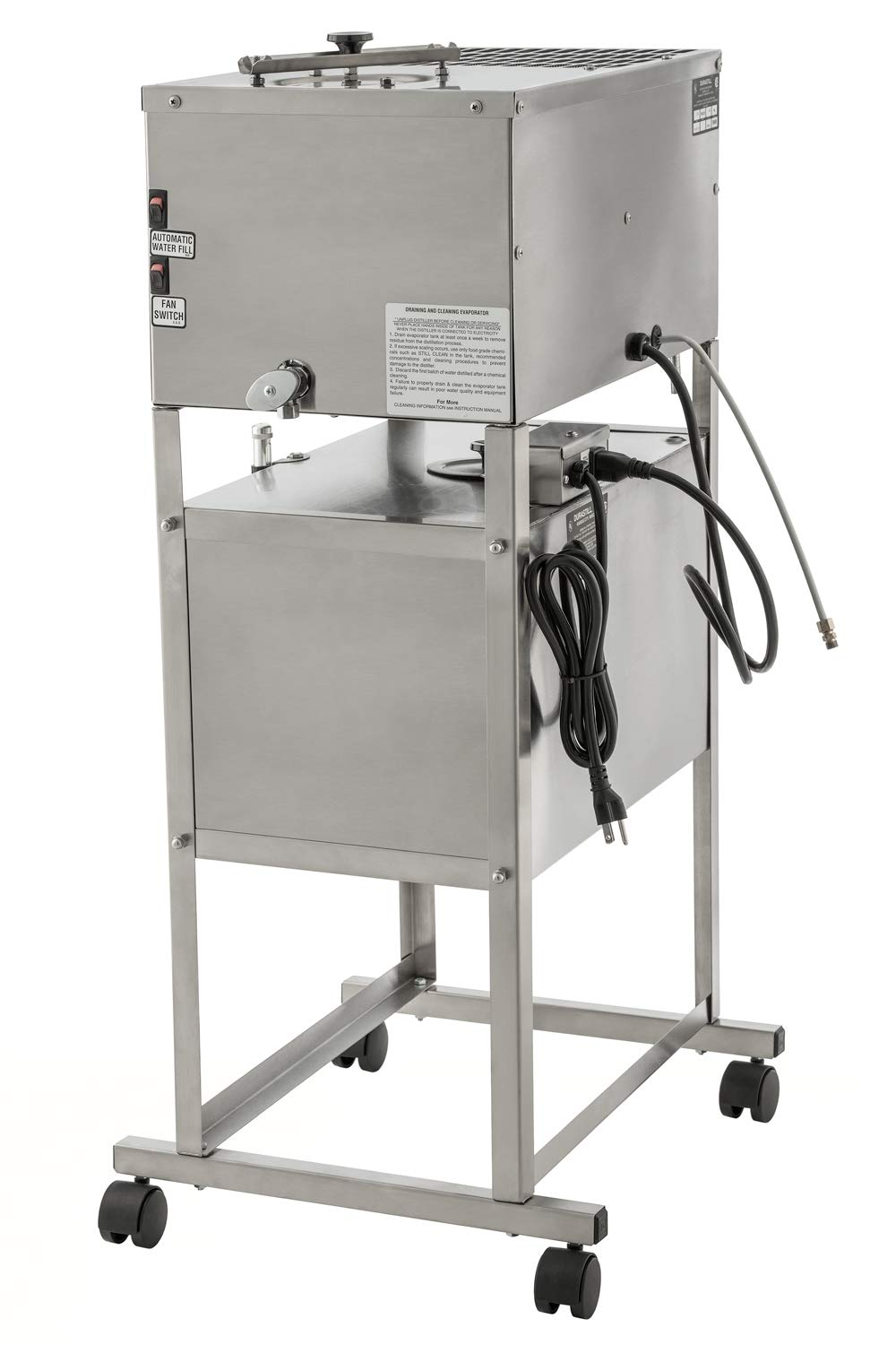 240 Volt Durastill 12 Gallon per Day Automatic Water Distiller Including 10 Gallon Reserve Tank with Casters and Level Gauge Deluxe Model 4640-240V