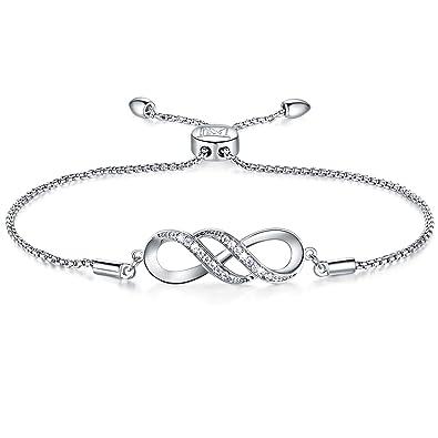 a3cbf117ec5a6 NINAMAID Women Girl Silver Infinity Endless Love Symbol Charm Bracelet  Jewelry Gift with Sparking Crystal Bangle Bracelets for ...