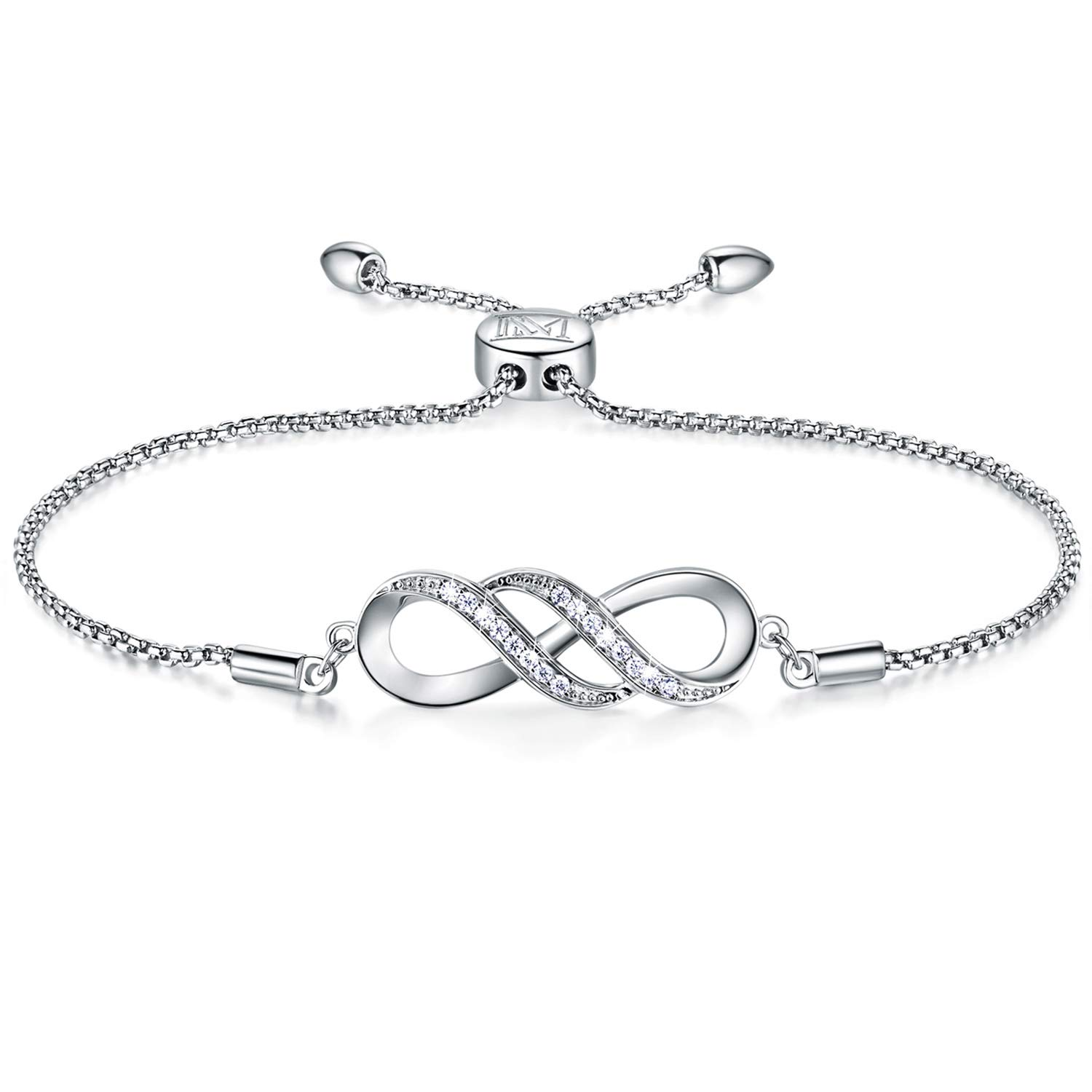 NINAMAID Women Girl Silver Infinity Endless Love Symbol Charm Bracelet Jewelry Gift with Sparking Crystal Bangle Bracelets for Friendship/Sister/Mother/Daughter