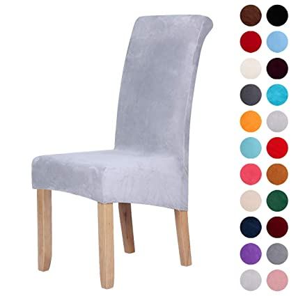 Amazon Com Velvet Stretch Dining Chair Slipcovers Spandex Plush