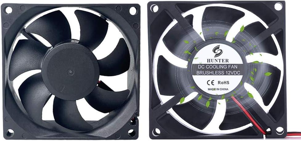 2Pack 80mm 12V PC Standard Case Cooling Fan, 80mm x 80mm x 25mm High Performance Cooling Fan, Dual Ball
