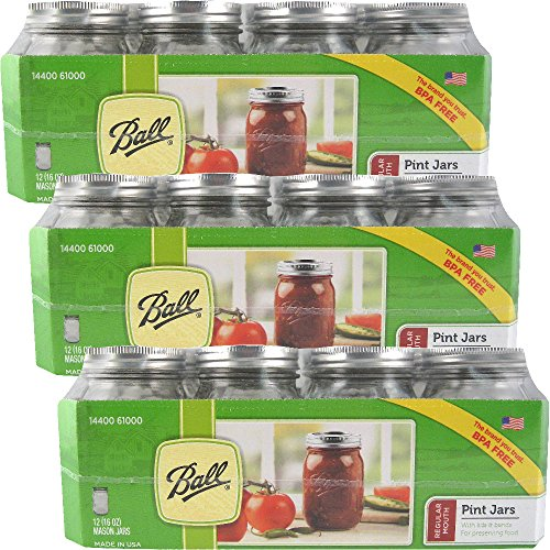 12 Ball Mason Jar with Lid – Regular Mouth – 16 oz by Jarden