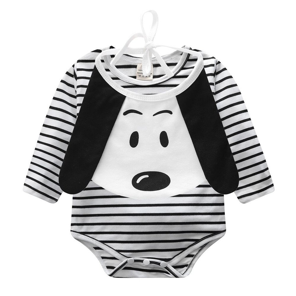233d93bb78 Amazon.com  Winsummer Newborn Infant Baby Boys Girls Stripe Bodysuit Long  Sleeve Romper Jumpsuit Onesies Dog Drool Bibs Clothes  Clothing