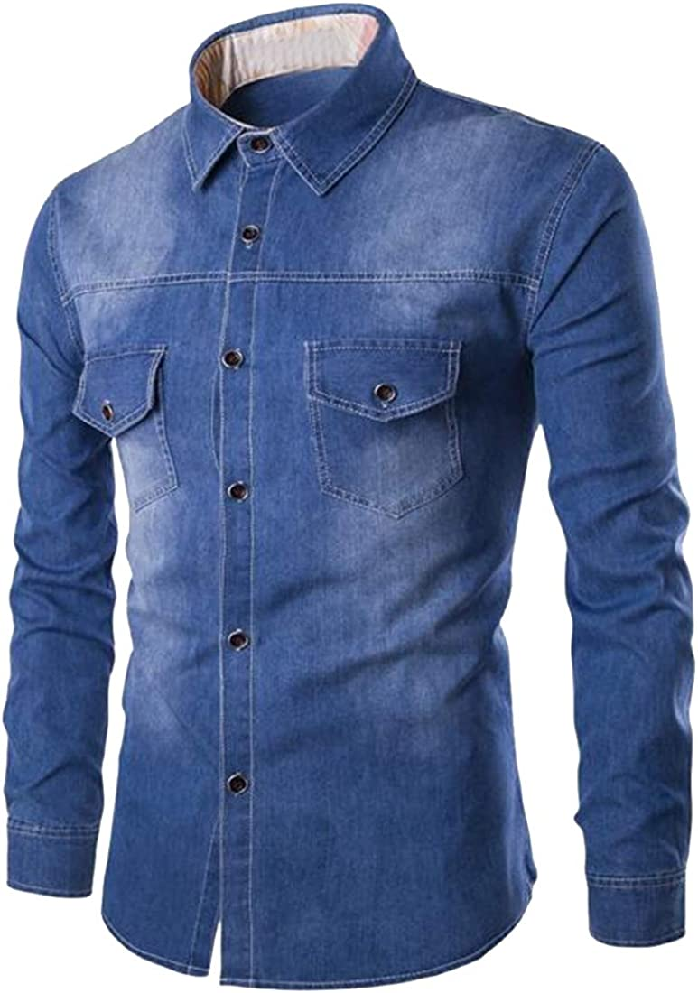 Jotebriyo Mens Plus Size Long Sleeve Slim Fit Casual with Pockets Denim Work Western Shirt