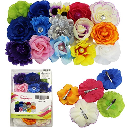 Barrettes for Girls - Flower Hair Clips for Women - 15 Pk Assorted Hair Accessory by CoverYourHair