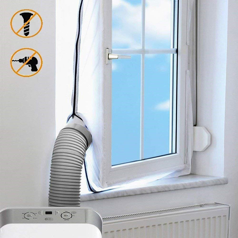400 CM Airlock Window Seal for Portable Air Conditioner And Tumble Dryer–Works with Every Mobile Air-Conditioning Unit, Easy to Install - Air Exchange Guards With Zip and Hook Tape–No Need For Drillin