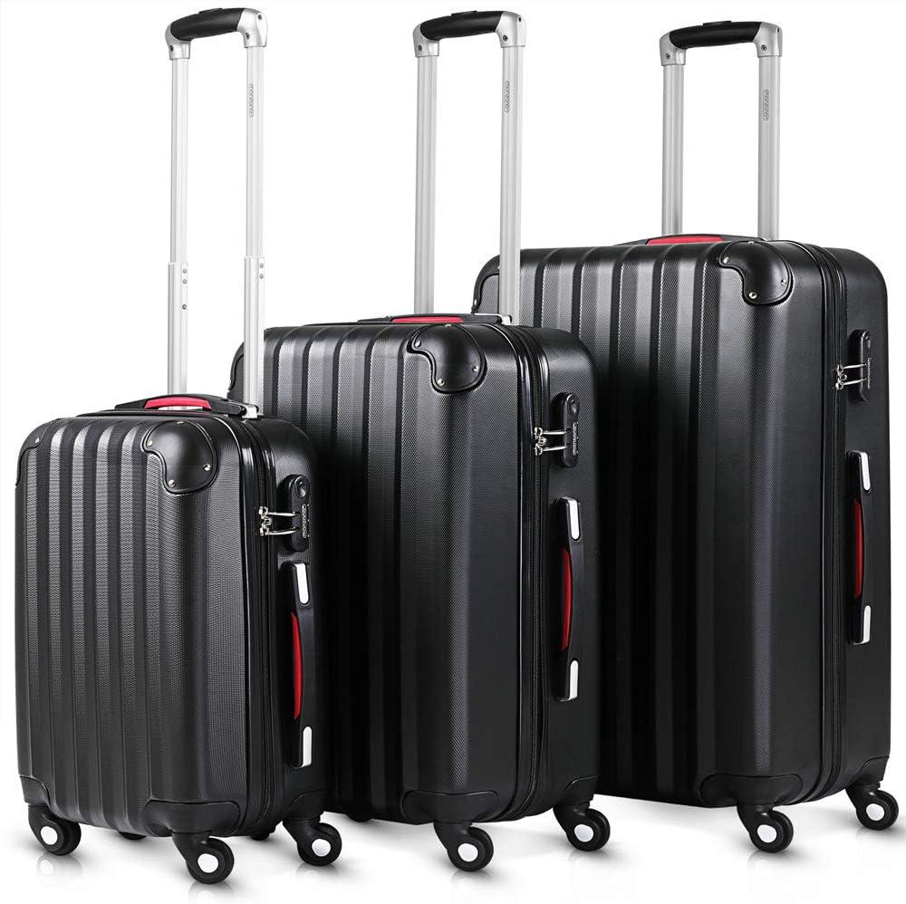 Juego de 3 Maletas rigidas Color Negro de plástico ABS Flexible -Cerradura de combinación de Seguridad - Sistema de Ruedas de 360° -Trolley Set Equipaje de viajecon Mango telescópico de Aluminio
