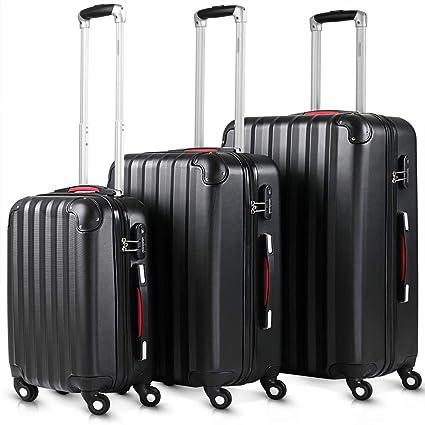 Juego de 3 maletas rigidas color negro de plástico ABS flexible -cerradura de combinación de seguridad - sistema de ruedas de 360° -Trolley Set ...