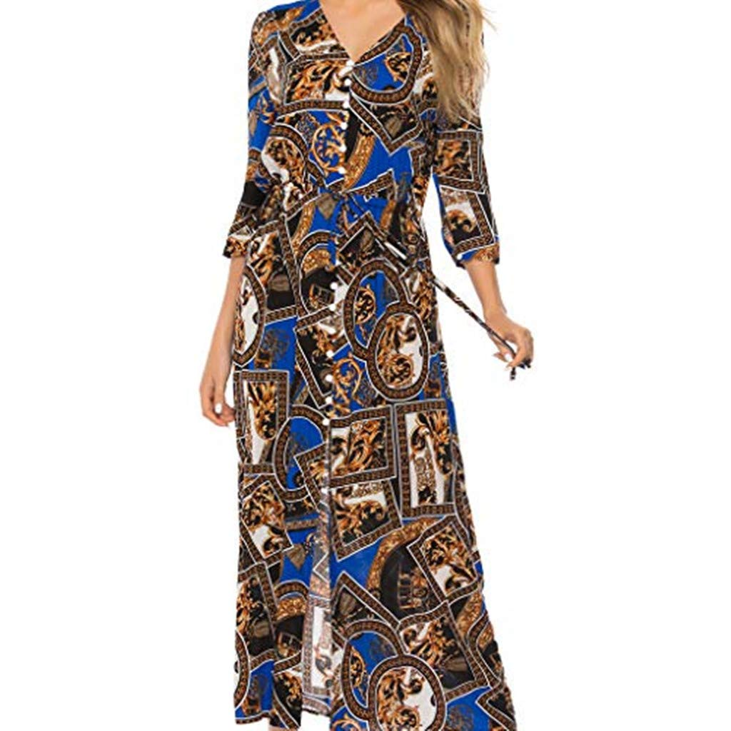 yijiamaoyiyouxia Fashion Women Boho Maxi Dress Print Patchwork Deep V Buttons Bandage 3/4 Sleeve Open Hem Beach Long Dress (XXXL, Blue)