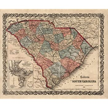 Antiguos Maps - Colton's Map of South Carolina Circa 1865 - Measures 22 in x 24 in (559 mm x 610 mm)