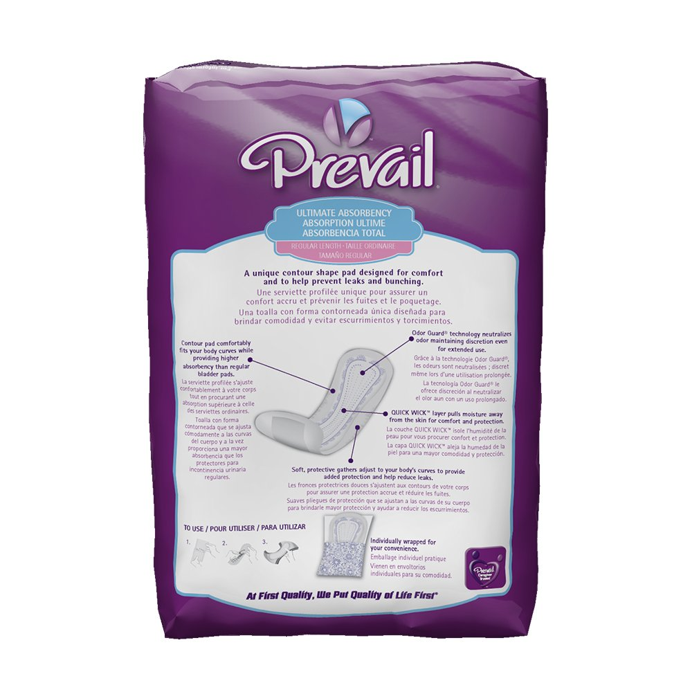 Amazon.com: Prevail Ultimate Absorbency Incontinence Bladder Control Curve Pads, Regular, 27-Count: Health & Personal Care