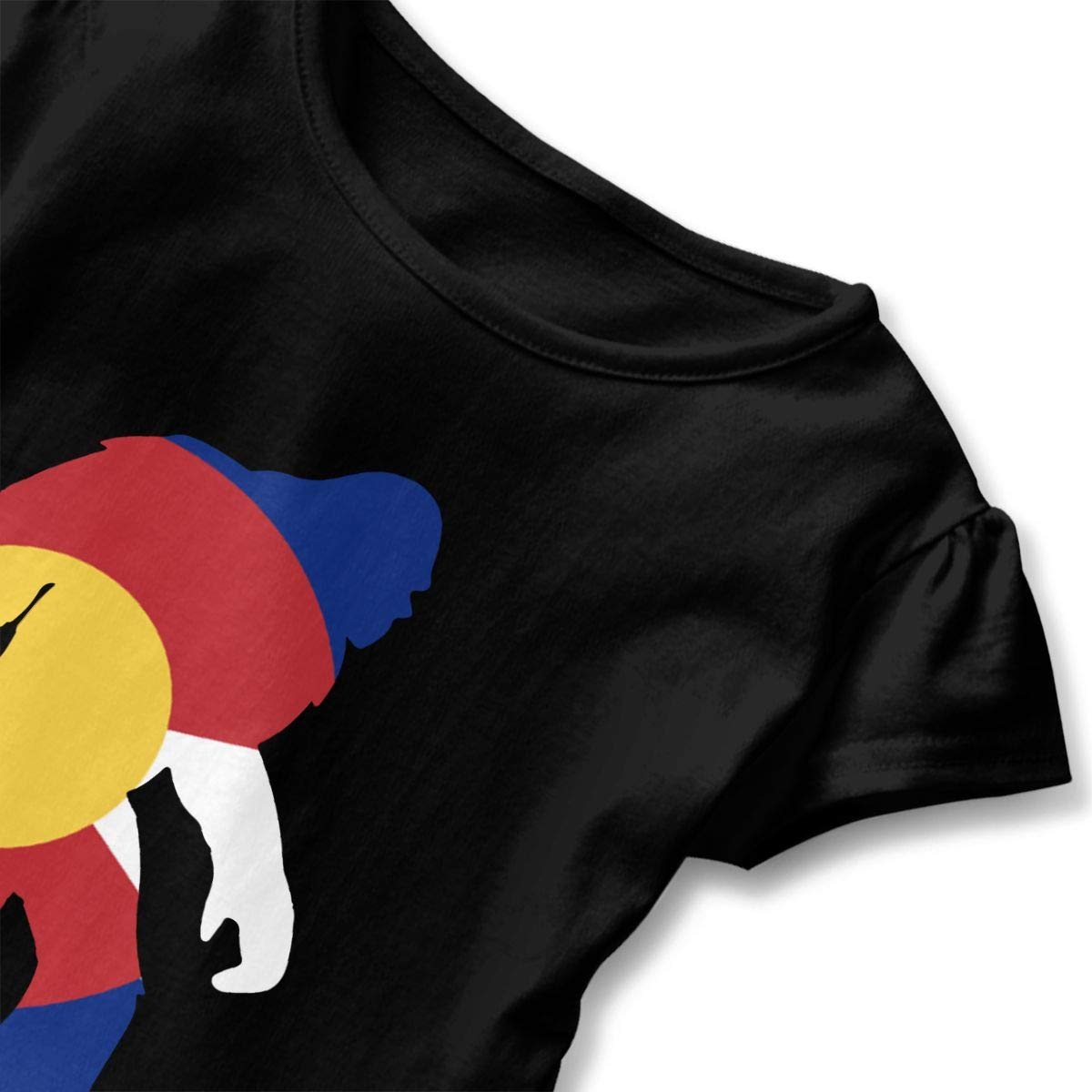 CZnuen Colorado Flag Bigfoot 2-6T Baby Girls Cotton Jersey Short Sleeve Ruffle Tee