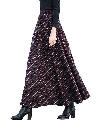 f8e69aec05 Femirah Women's High Waist A-line Flared Skater Long Skirt Woolen Pleated  Skirt: Amazon.co.uk: Clothing
