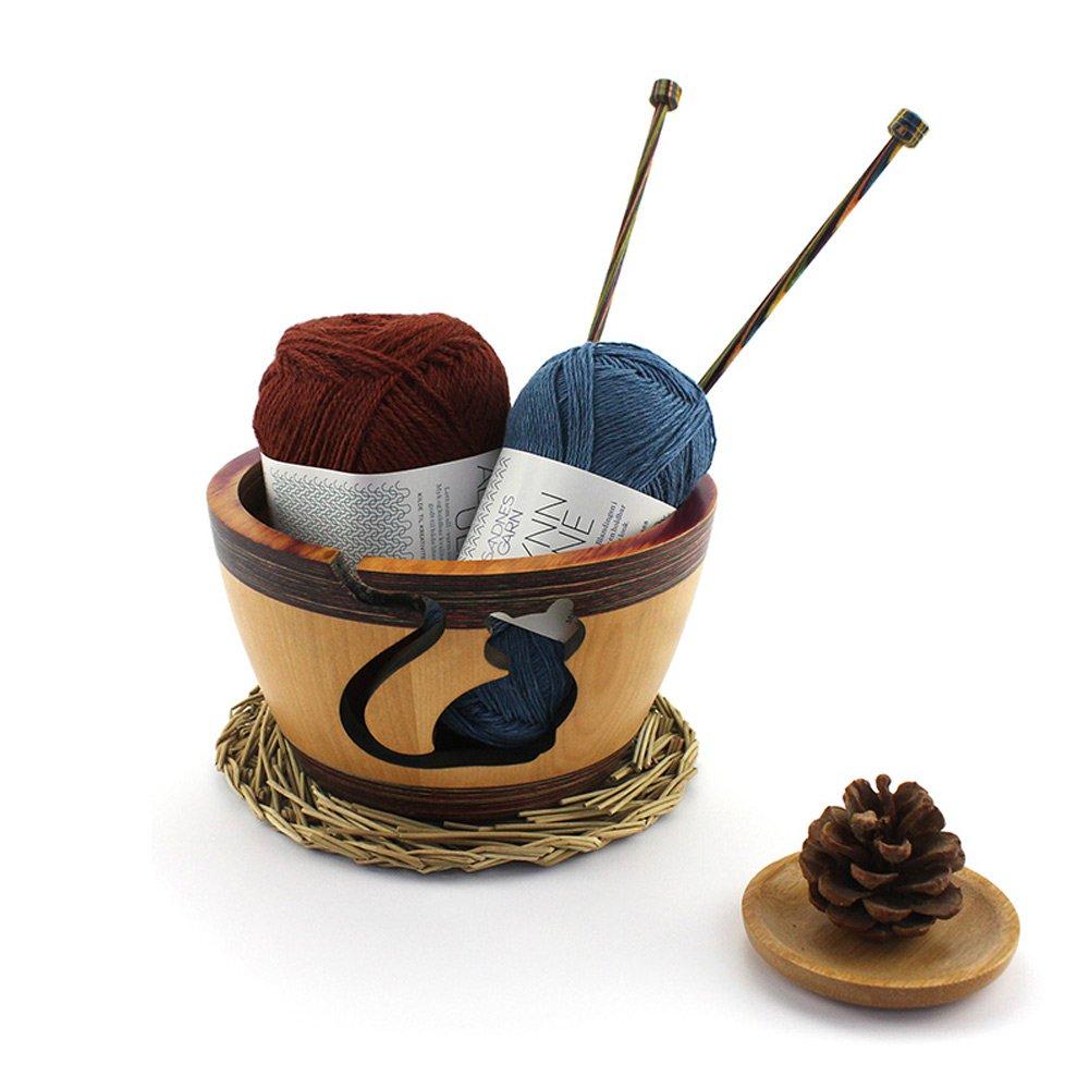 Wooden Yarn Bowl for Knitting Crochet Cute cat Elegant Design