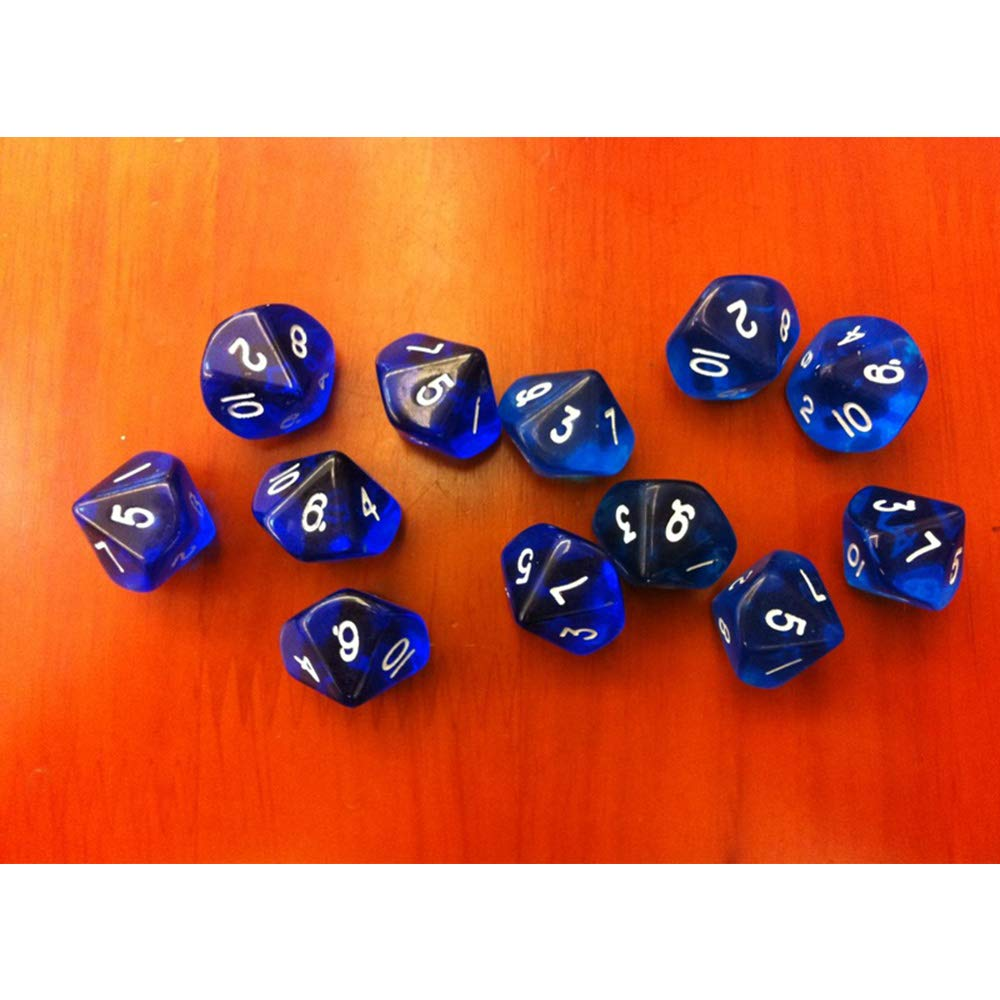 Aofocy Pack de 10 d/és D10 D10 Jouer au Donjons u0026 Dragons D u0026 D TRPG Jeu de soci/ét/é Bleu