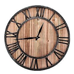 Boquite Roman Numerals Classic Metal Round Shaped Antique Iron Wall Clock