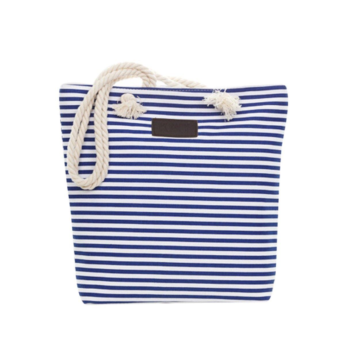 FUNOC Canvas Tote Bag,Vibrant Stripe Beach