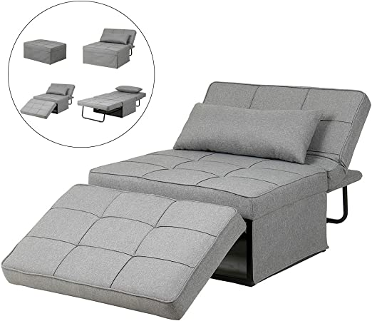 Diophros Folding Ottoman Sleeper Guest Bed 4 In 1 Multi Function Adjustable Ottoman Bench Guest Sofa Chair Sofa Bed Light Grey
