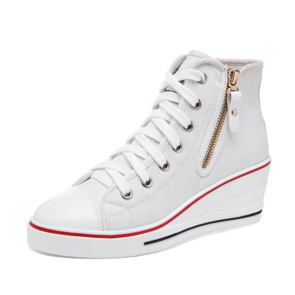 PP FASHION Formal Wedges Hidden Heel Western Style Women' Casual Canvas Sneakers (White 9.5)