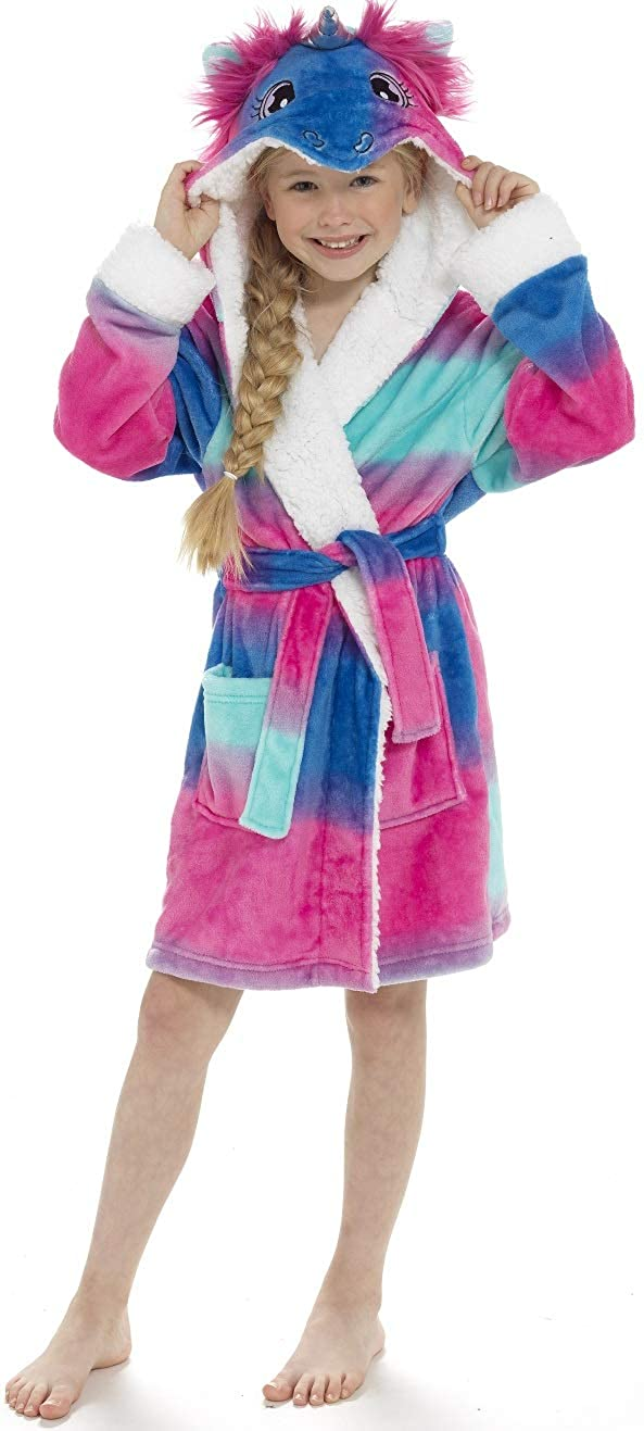 KATE MORGAN Girls Mini Me /& Ladies Soft /& Cosy Hooded Dressing Gown