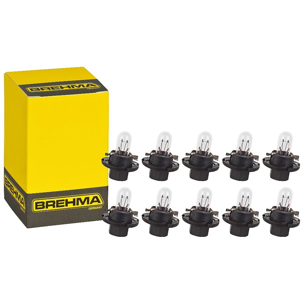 10x BREHMA BX8.4d Schwarz 12V 1, 2W Instrumentenbeleuchtung