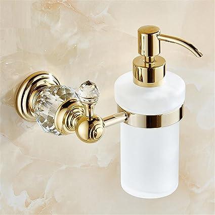 HomJo Dispensador de jabón líquido montado en la pared de cristal de lujo con acabado de