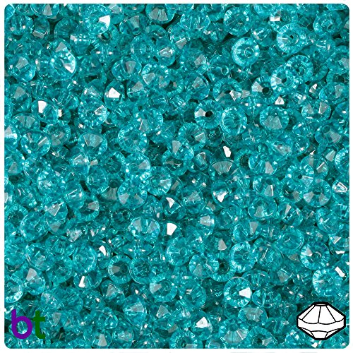 BeadTin Teal Transparent 6mm Faceted Rondelle Craft Beads (1200pcs)