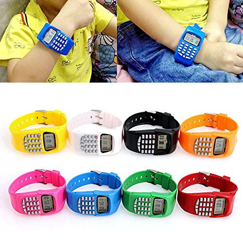 Smart-Uni Multifunction Calculator WristwatchLED Silicone Sports watch for Kids Children(Red)