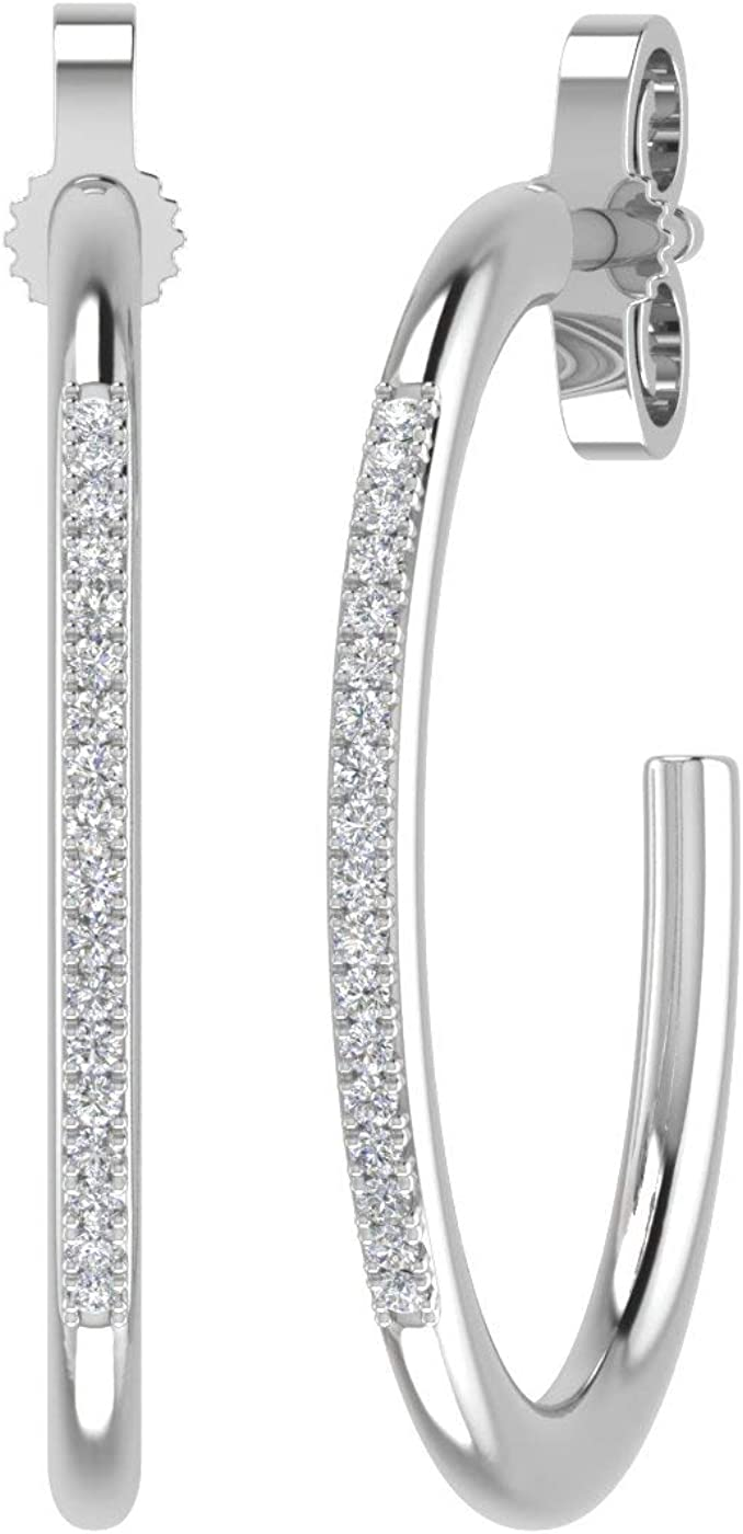 Fashion Men L0C1 Unisex Silver 14K Gold Diamond Round Hoop Earrings Jewelry