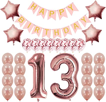13th Birthday Decorations Rose Gold|13 Birthday Party Supplies for Girls-Conf...