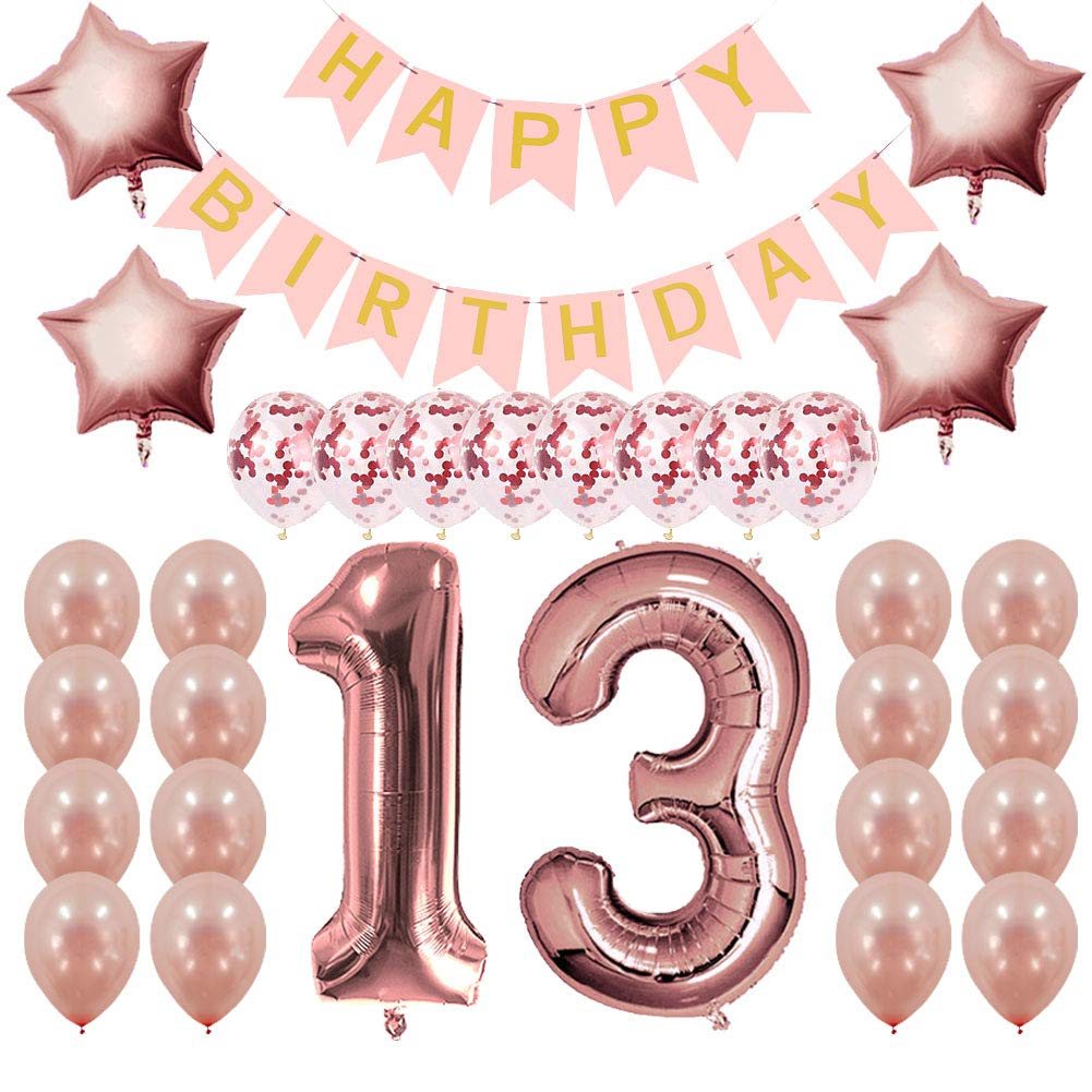 Amazon Rose Gold 13th Birthday Decorations Party Supplies Gifts For Girls Banner And Balloons Health Personal Care