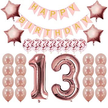 Rose Gold 13th Birthday Decorations Party Supplies Gifts For Girls