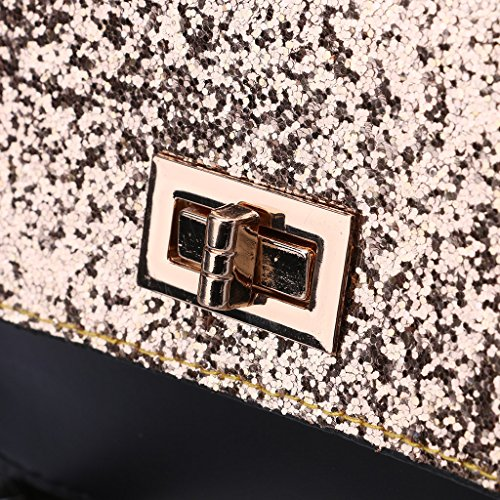 Color Dabixx Rosa Negro 18x8x15cm Diseño Bolso Bandolera Negro Cruzado con 91 Lentejuelas 15x5 7 09x3 para Mujer r8rwqH